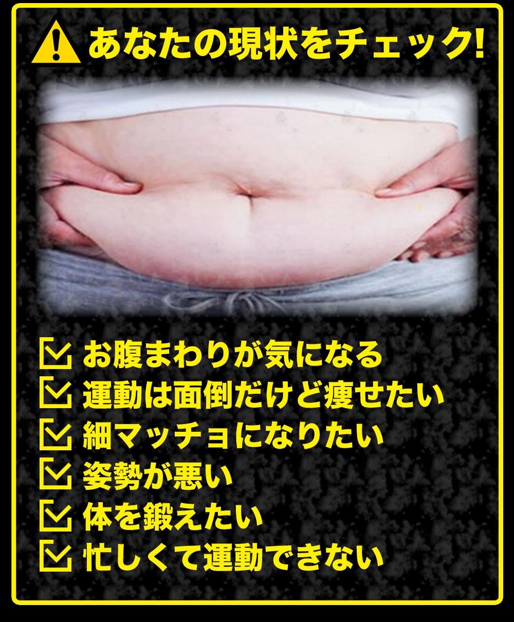 あなたの現状をチェック!お腹まわりが気になる 運動は面倒だけど痩せたい 細マッチョになりたい 姿勢が悪い体を鍛えたい 忙しくて運動できない